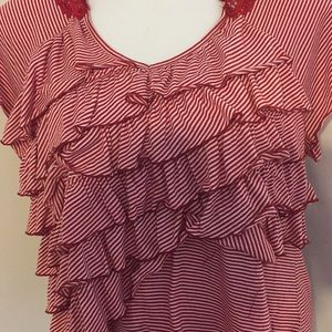 Cato woman's 18/20W striped top lace vacation